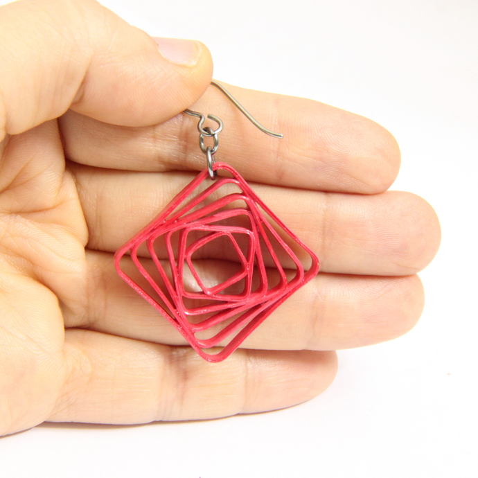 Square Spiral Swirl Geometric Rose Pink Niobium Earrings - Eco Friendly Artisan