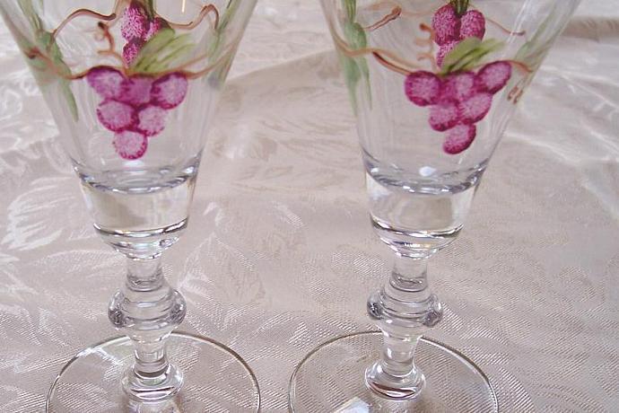 Grapes on Vintage Wine Glasses