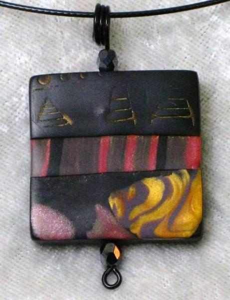 Black, Red and Gold Landscape Pendant