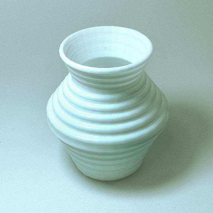 White Modern Vase Accent Vase Ridged Vase By Meshcloud On Zibbet
