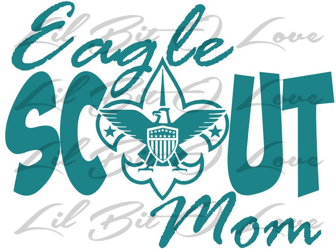 Eagle Scout Mom Vinyl Decal with Eagle Shield as the O. Boy Scouts of America
