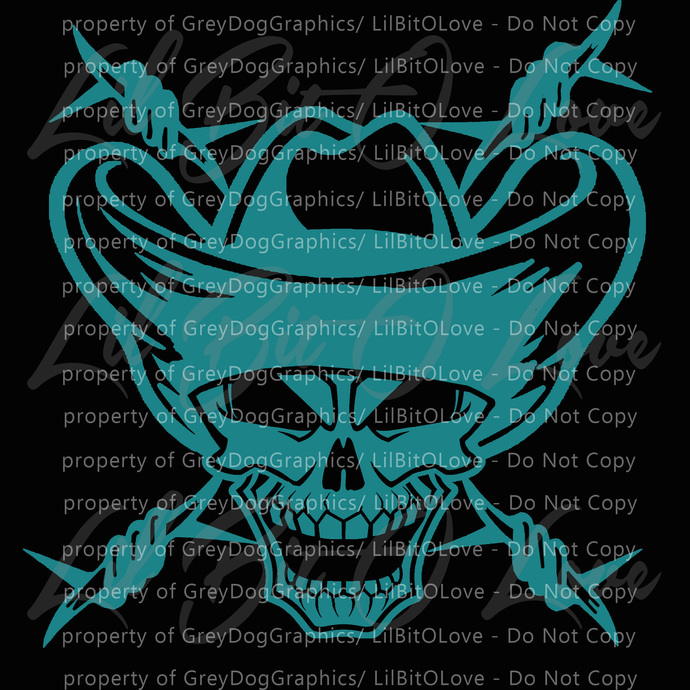 Cowboy Skull and Barbed Wire Behind Vinyl Decal - Cowboy Rancher Ranching Ranch