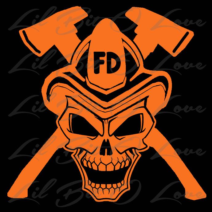 Firefighter Skull and Cross Axes Vinyl Decal Fire fighter Fireman Sticker