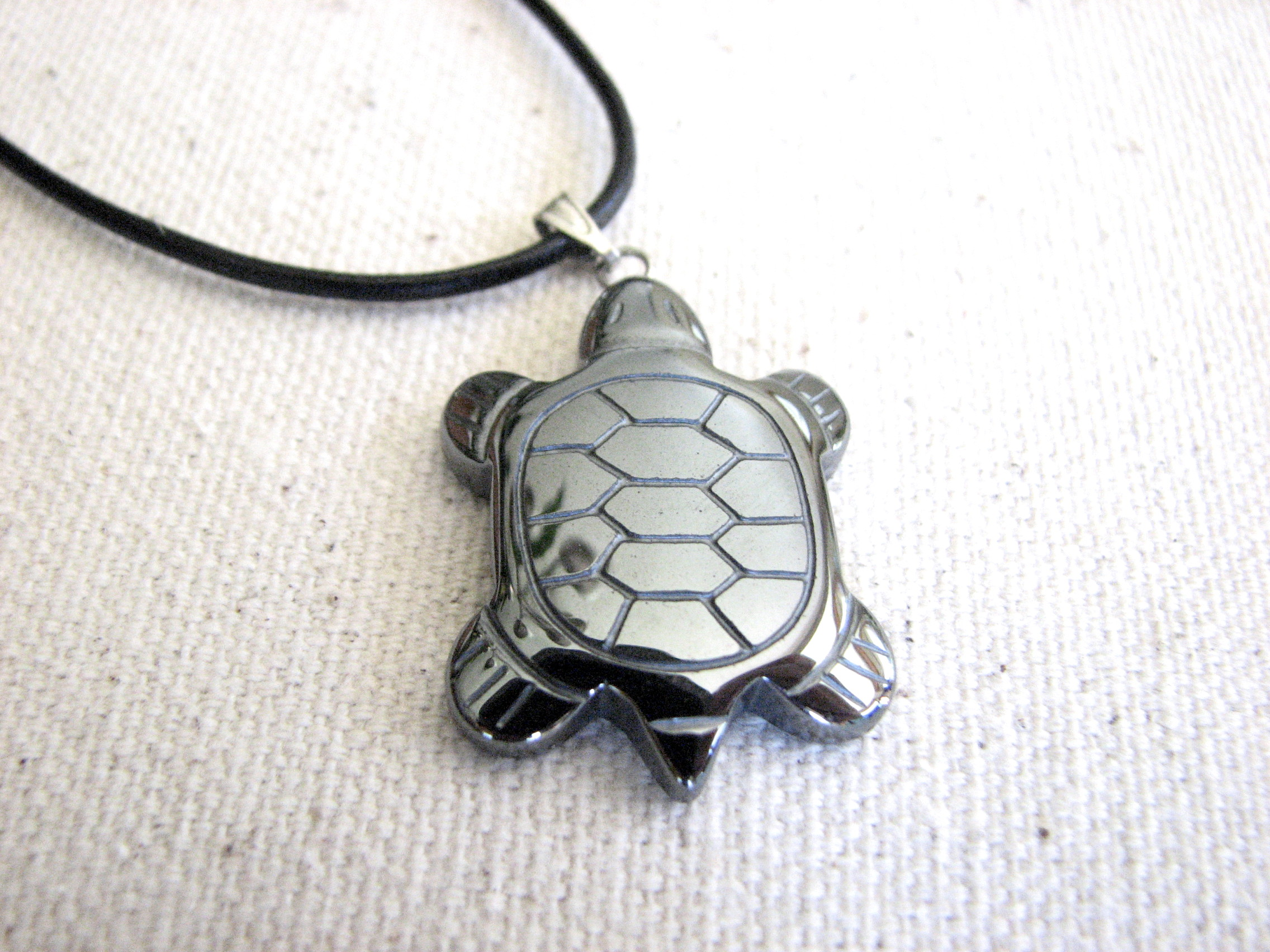 necklace by unisex hematite mens turtle on zibbet bitsoffthebeach leather jewelry
