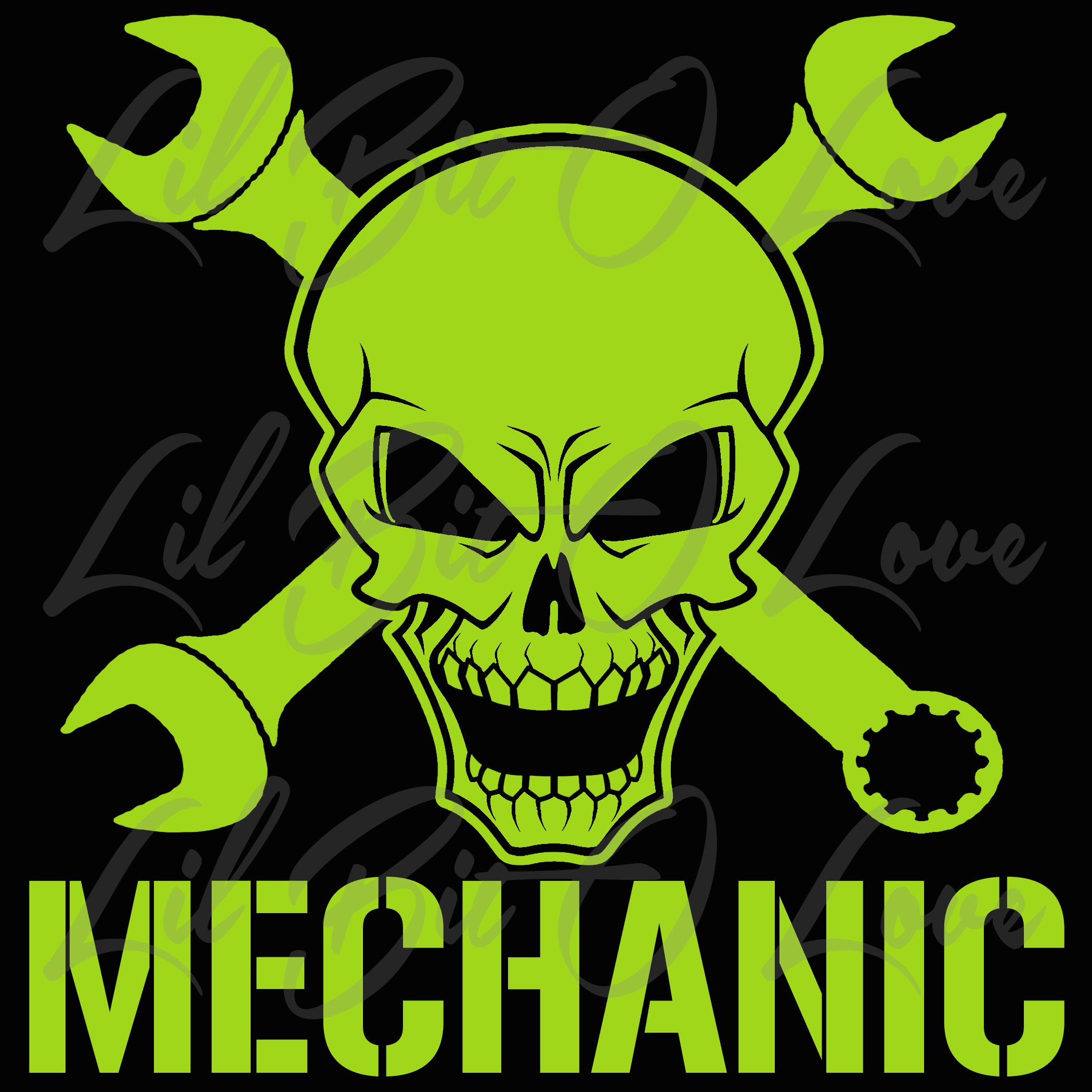 Mechanic Skull With Cross Wrench Design 2 By Lilbitolove