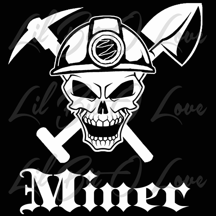 Miner Skull With Hardhat And Shovel And By Lilbitolove On