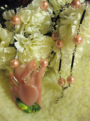 Necklace  of  Shard Sculpture fused glass in Pink Saskatchewan Artisan