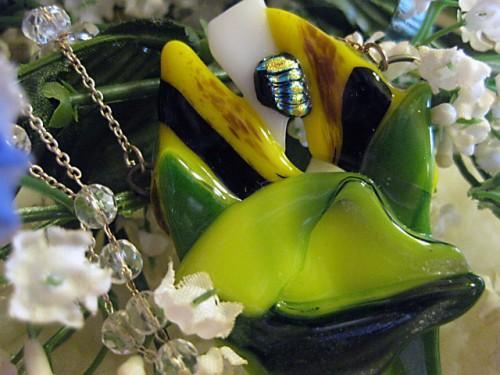 Shard Sculpture yellow flower necklace in fused glass  shards  in SASK