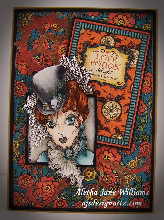 Steampunk Peg Love Potion Skulls Gears Handmade OOAK Art Greeting Card