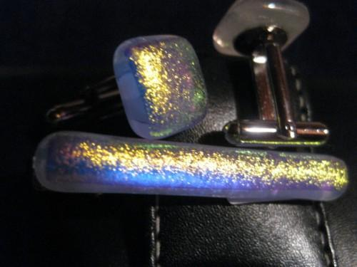 Fused glass dichro cuff links and matching tie clip .
