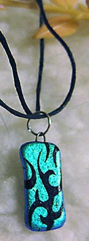 reversible dichro necklace in black with silver accent and teal