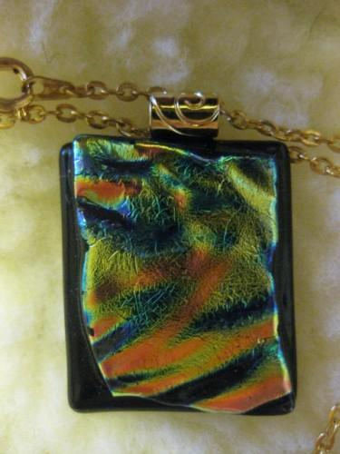 Fused glass rippled rainbow dichroic necklace