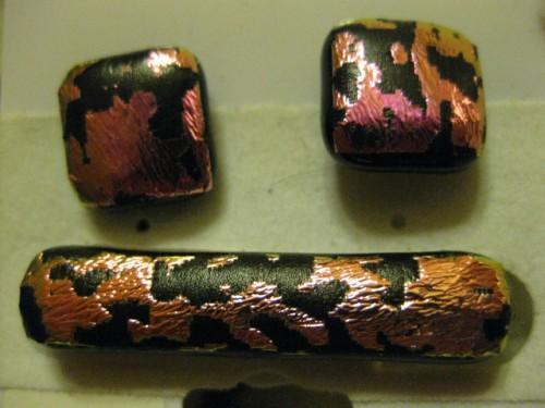 Pink Salmon Dichroic cuff links and tie clip