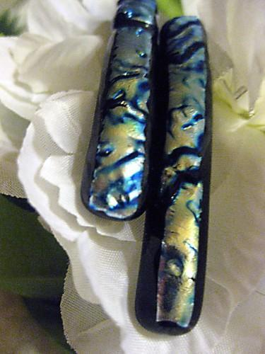 Barrettes dichroic fused glass  in silver and blue