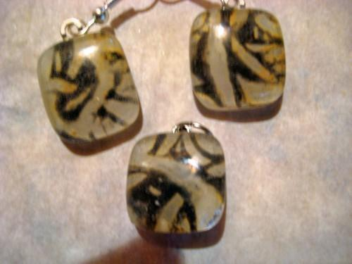 Fused glass handmade gold and black  pendant and earrings
