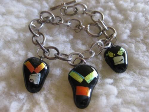 Faces of dichro glass metal charm bracelet handmade