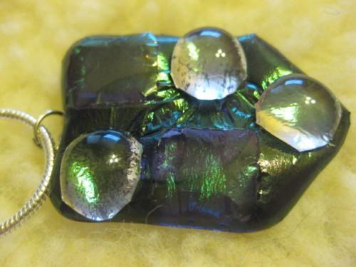 Fused glass handmade large irridiscent purple pillowtop necklace