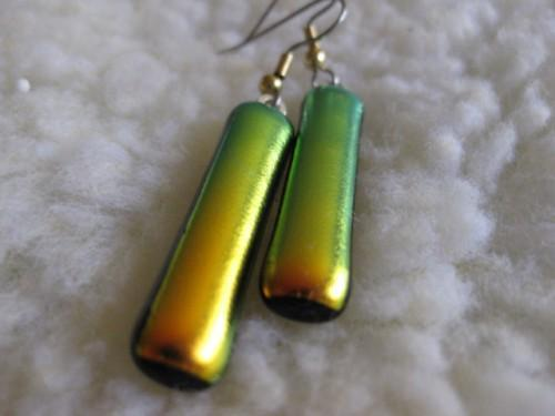 Earrings Gold Green Fused Dichroic