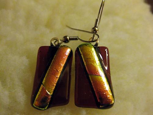 Earrings Cranberry  with Gold/Red Dichroic Accent