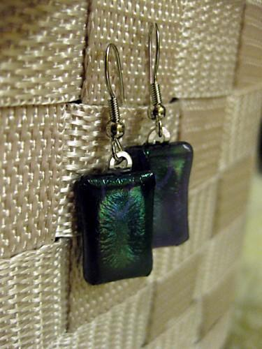 Earrings in Irridescent Purple fused glass