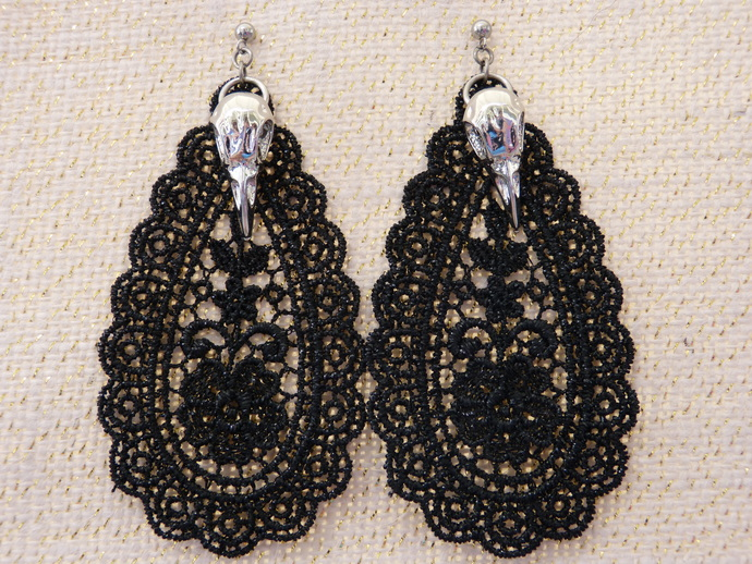 Black Lace Teardrop with Charm Earrings