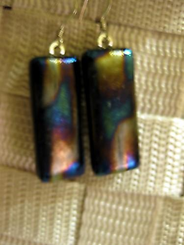 Black irridescent fused glass earrings