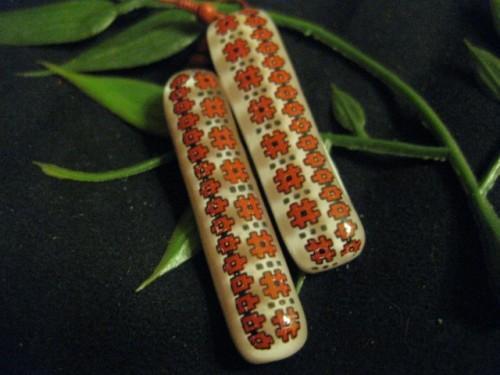 Ukrainian inspired handmade earrings in fused glass