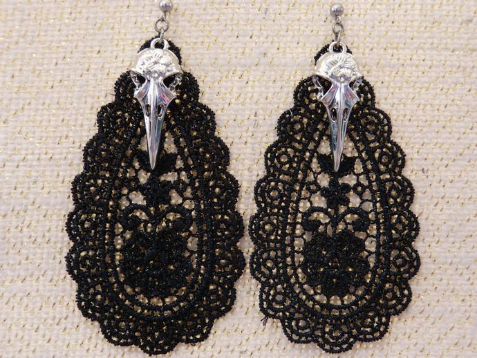 Black Lace Teardrop with Charm Earrings