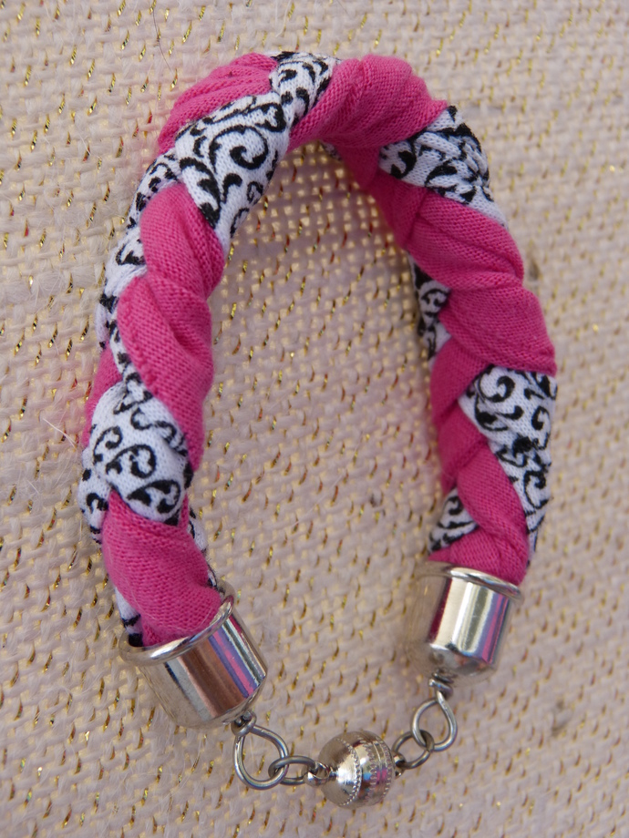 Pink, Black and White Braided Cotton Bracelet