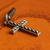 Cell phone charm with antiqued silver cross