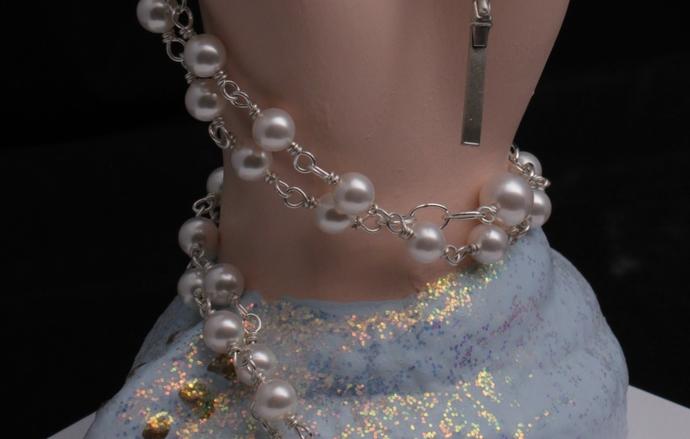 Bride's wedding rosary sterling silver and Swarovski pearls