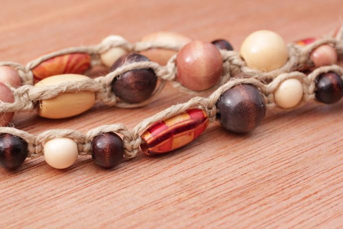 Wood multi-strand necklace OOAK