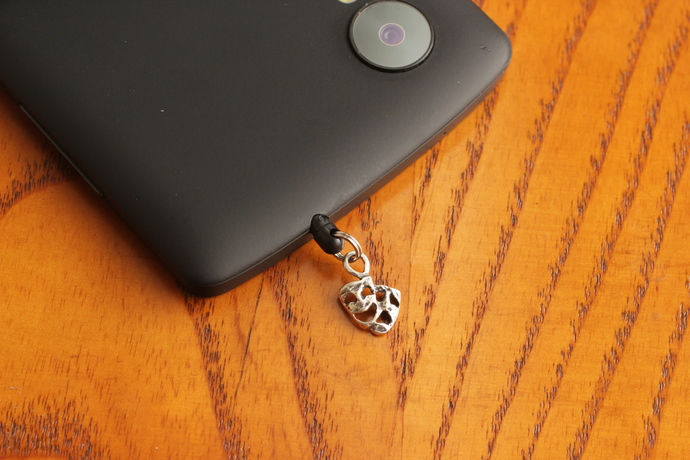 Cell phone charm with antiqued silver mask