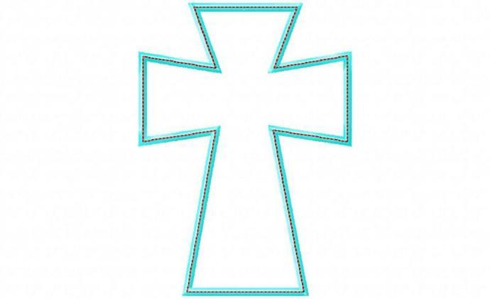 Cross 3 Applique Design Machine Embroidery Design Raggy