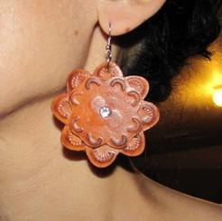 Medium Leather flower earrings
