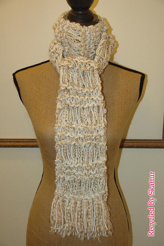 White Cream Beige Hand Knit Scarf / Handmade Accessories Scarf Knit