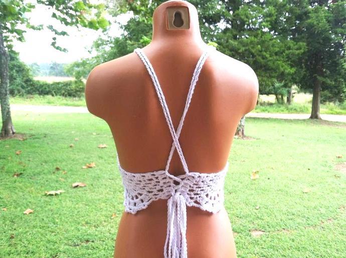 White Cropped Top, Boho Hippie Crochet Top by Vikni