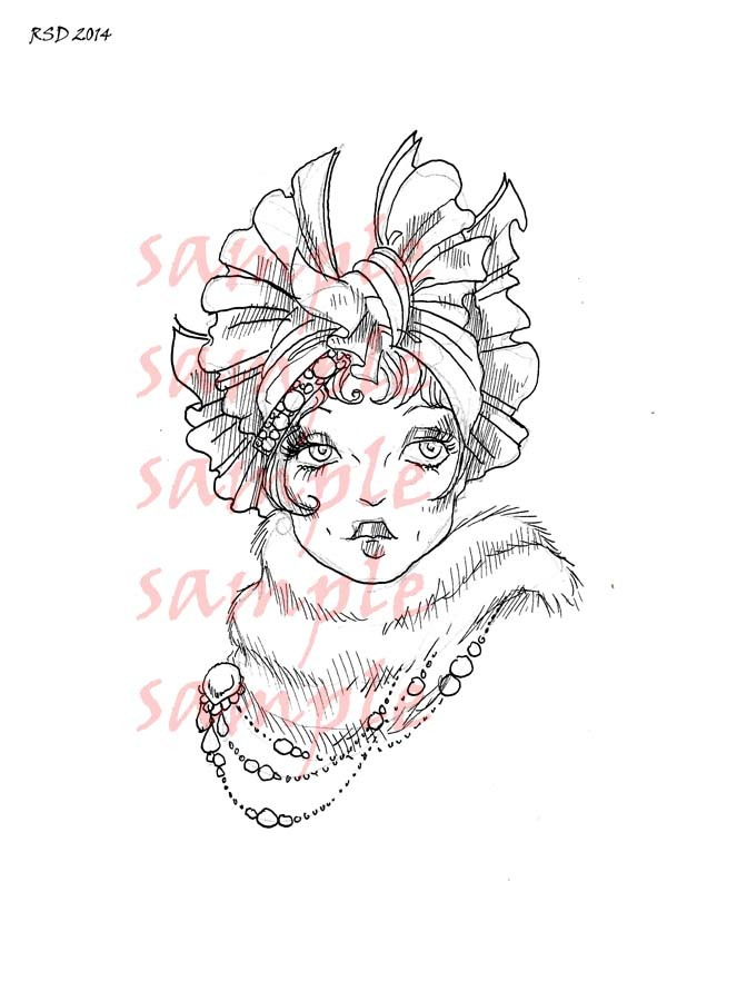 DEBORAH hat lady digital stamp