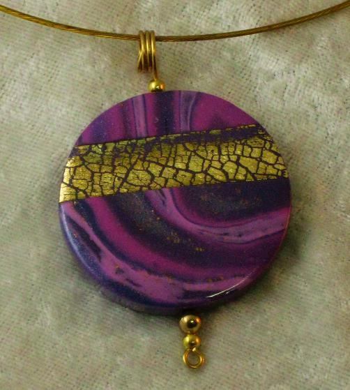 Purple, Pink and Gold Landscape Pendant