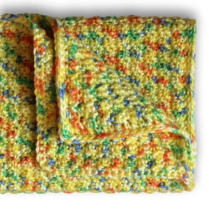 Yellow Crochet Baby Afghan. Travel Size Square Car Seat Cover. Childs Stroller