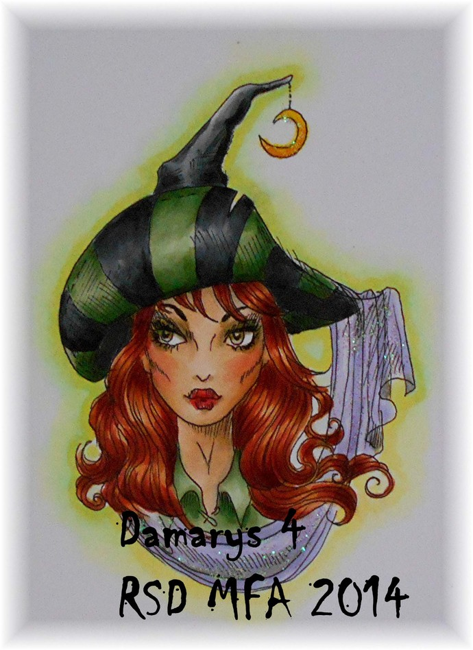 Endora Hat lady witch digital stamp