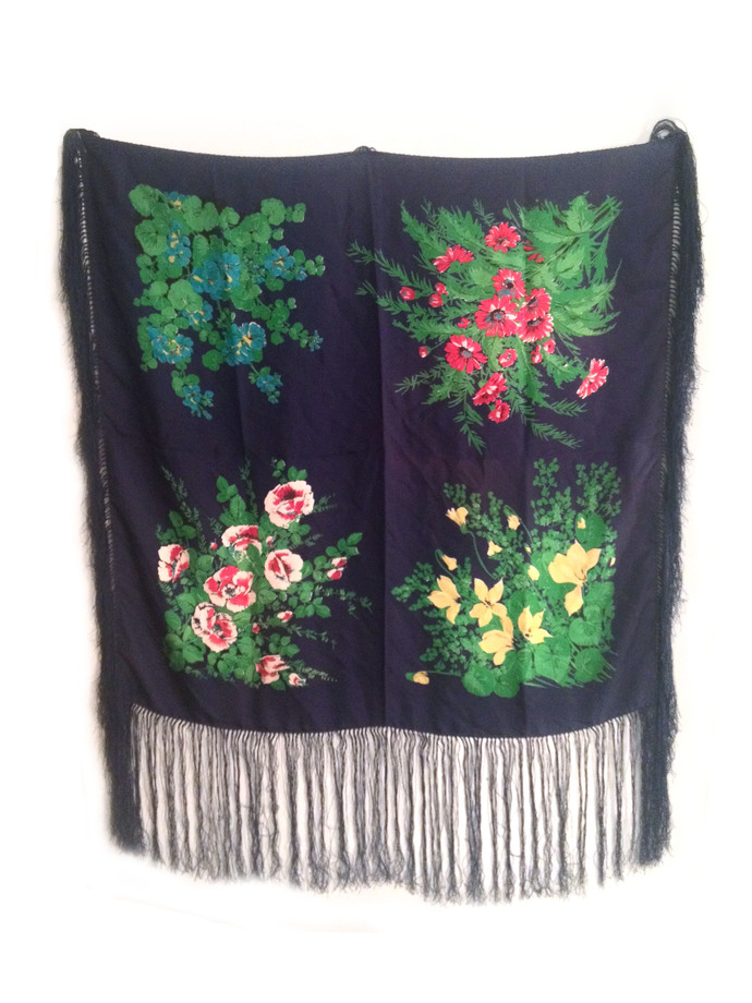 Vtg. Floral Print Hand-rolled Silk Twill Scarf w Fringe- A Rare HERMES Quality