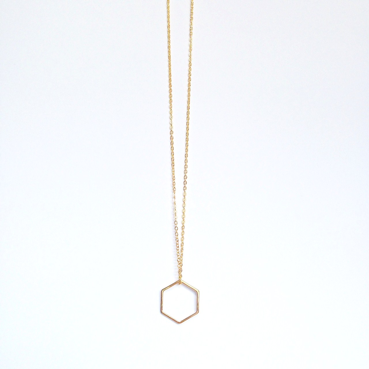 Hexagon Necklace Minimalist Necklace Simple by BBs Jewelry on