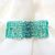 Seafoam Green Crochet Bracelet with Swarovski Crystals & Hand-painted Clasp