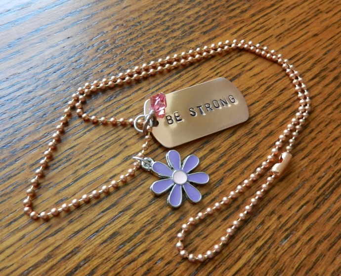 Personalized Dog Tag Necklace w/ Charms - Hand Stamped Jewelry - Copper Pendant