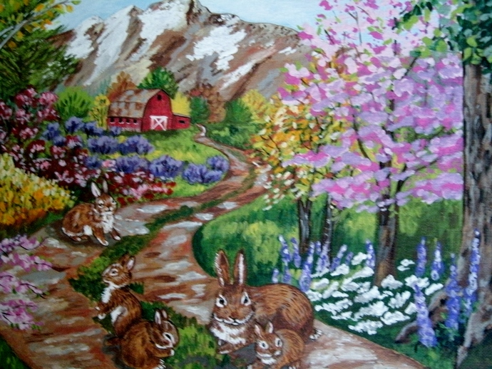 Bunnies On Country Path Painting, original, fine art, acrylic, realism, animal,