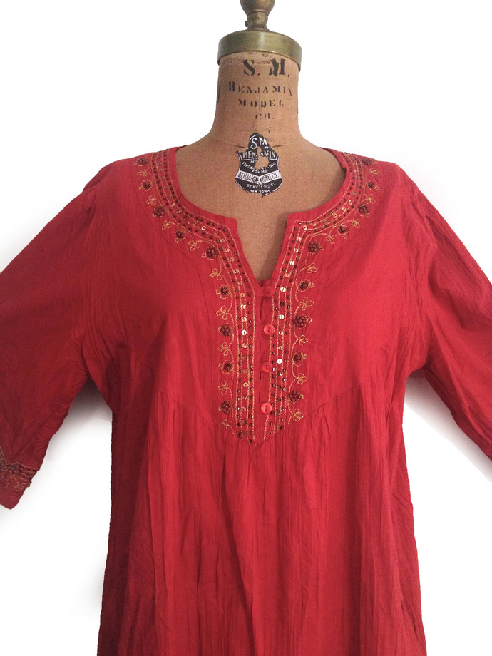 Vtg. Red Bohemian Light Weight 100% Cotton Gold Embroidered  Beaded Tunic /