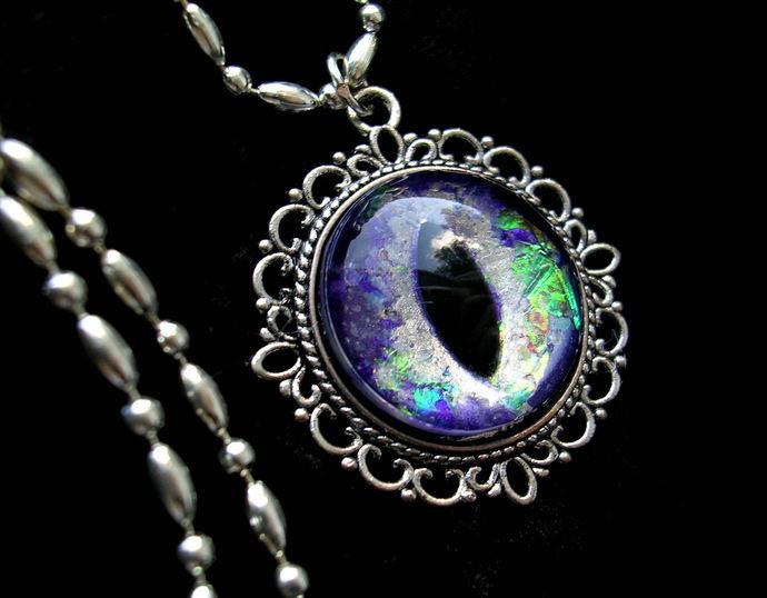 Custom - Steampunk Gothic UV Reactive GLOW - Pendant - Dragon Evil Eye - Prism