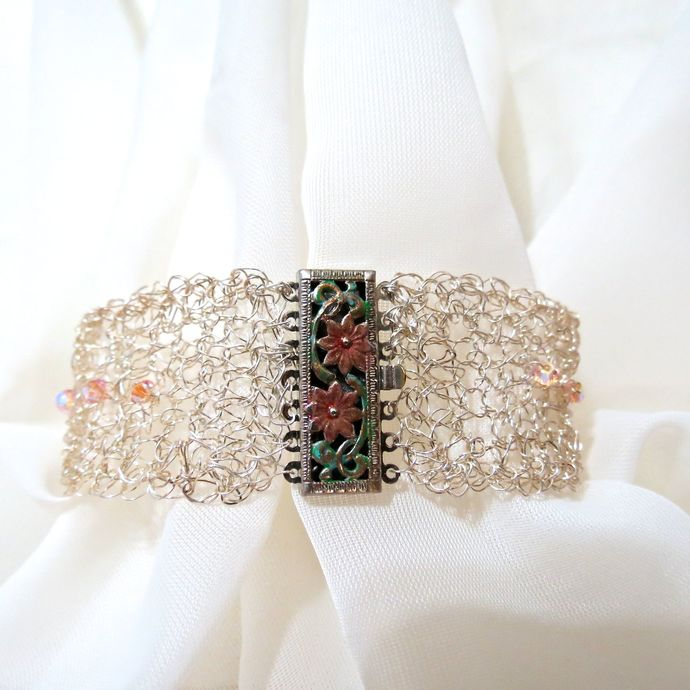 Fine Silver Wire Crochet Bracelet with Swarovski ABx2 Crystals & Hand-painted
