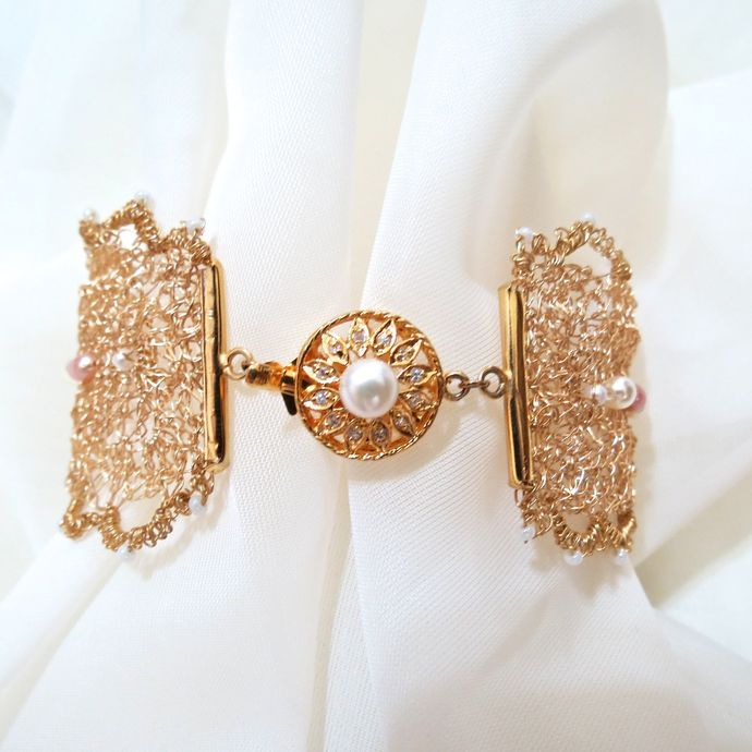 Gold Wire Crochet & Tatted Border Bracelet with Pearl Accents